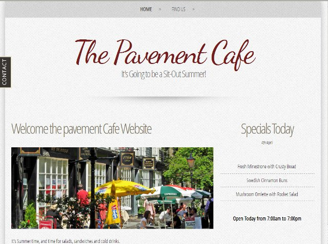 Pavement Cafe Site index